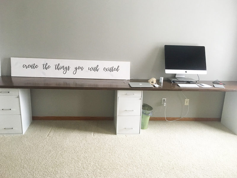the desk in place, just waiting for decor